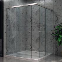GFSC.S39 Καμπίνα ντους γωνία -2 πόρτες, 8mm, προφίλ αλουμ. 1200mm, χρώμα χρώμιο γυαλιστερό(max.80x250cm, 40Kg)