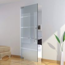GFWD.S1 Γυάλινη ανοιγόμενη πόρτα με μηχανισμό 10/12mm,σετ, τοίχος, χρ.ανοξείδωτο ατσάλι(max.100x265cm-100Kg)