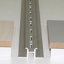 LE800-2 Ράγα 300cm επιτοίχια, διάτρητη, τύπου Ω, για επιφάνεια 19mm, αλουμίνιο