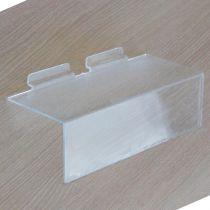 PF173 Ράφι ίσιο 250x100mm, πάχος 4mm, με θήκη τιμών 76mm, διαφανές, ακρυλικό